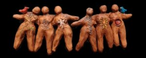 six clay figures by Brenna Busse