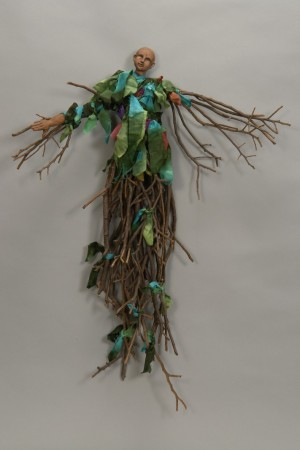 mixed media, sticks, fabric, healing